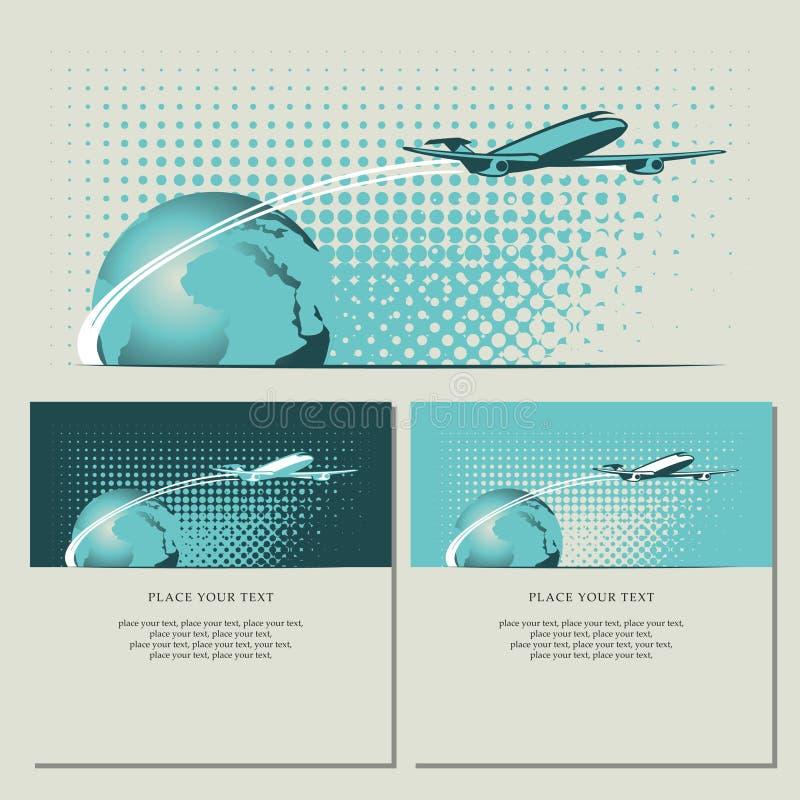 Avion de passagers et planète illustration stock