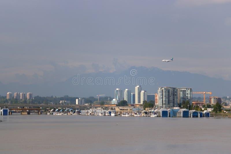 Avion de passagers de Westjet et Vancouver, Canada image libre de droits