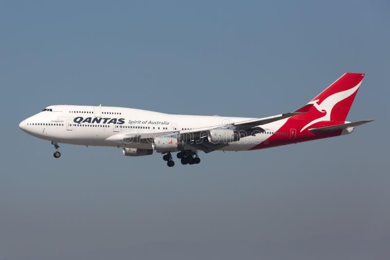Avion de Qantas Boeing 747-400 photographie stock libre de droits