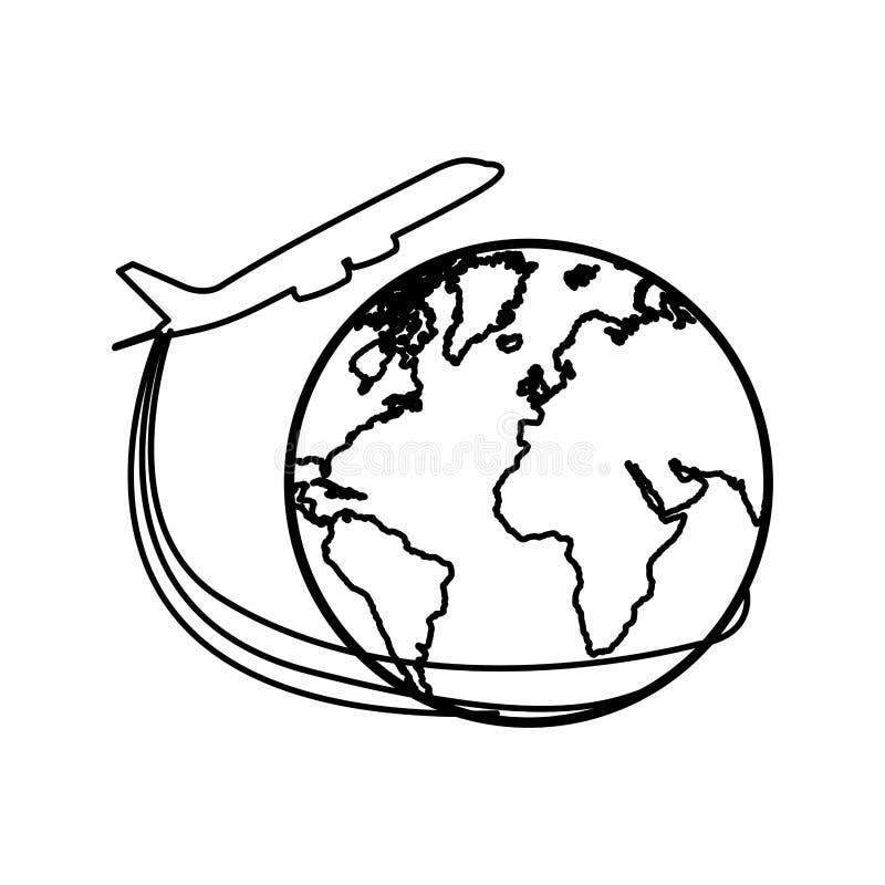 Download Avion De Silhouette Autour D'icône Du Monde De La Terre Illustration Stock - Illustration du aviation, illustration: 87704510