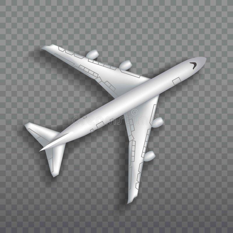 Avion de vol, avion à réaction, avion de ligne Vue supérieure de l'avion d'air réaliste détaillé de passager d'isolement sur tran illustration de vecteur