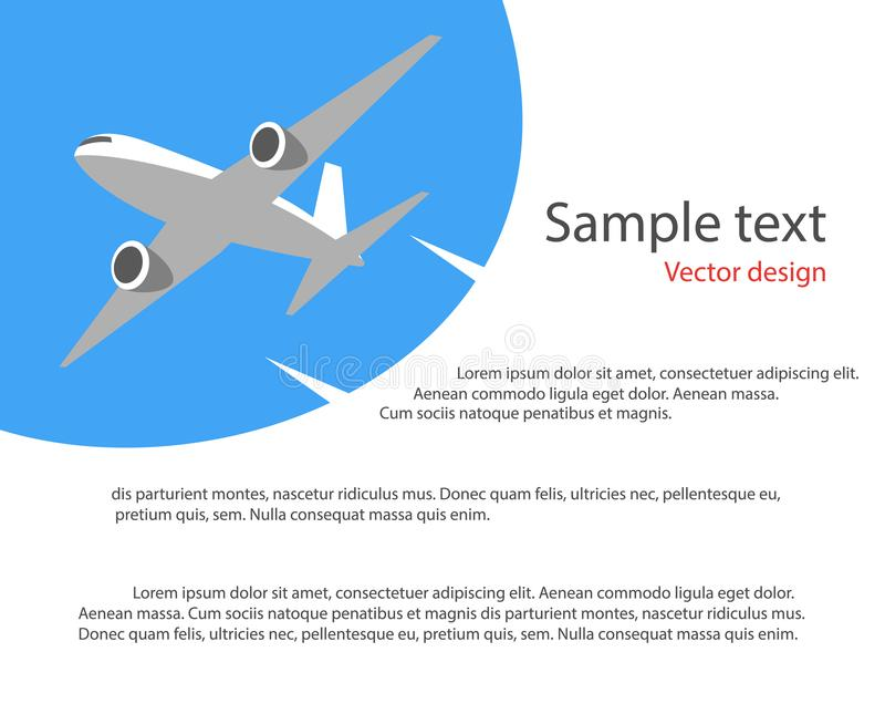 Avion de vol dans le ciel bleu Affiche d'illustration de vecteur, bannière Accueil avant le vol, la publicité Place pour le texte illustration de vecteur