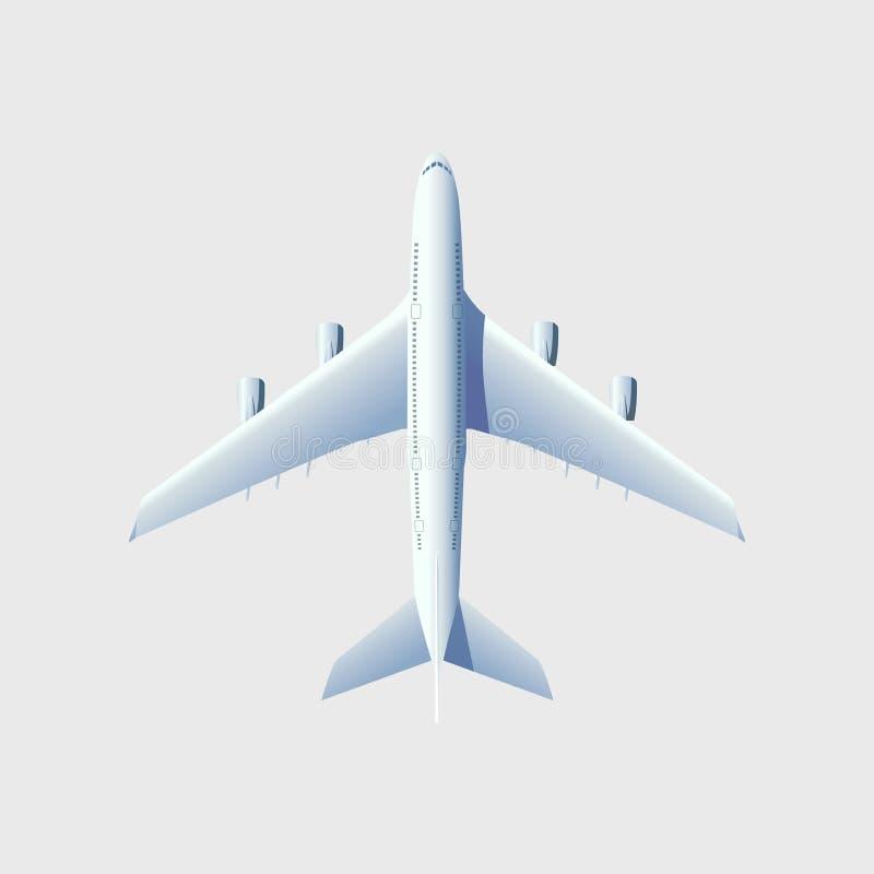Avion de vol, avion ? r?action, avion de ligne Vue supérieure d'avion d'air sur le fond blanc illustration stock