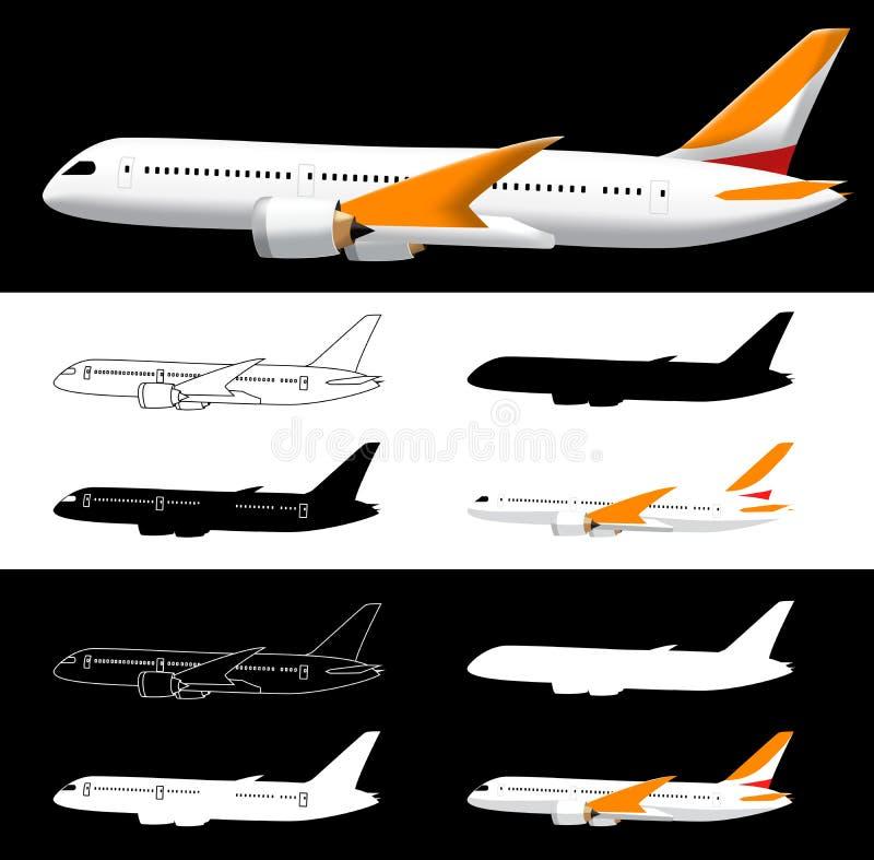 Avion de vue de côté de vecteur avec la silhouette illustration stock