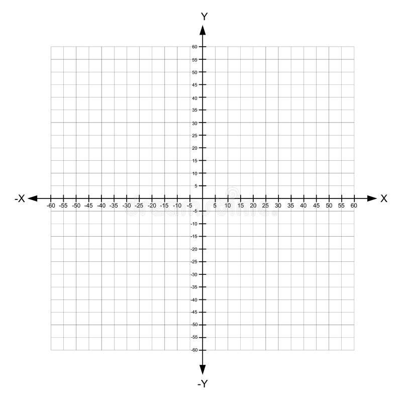 Avion du même rang cartésien vide de x et d'axe des ordonnées avec des nombres illustration stock
