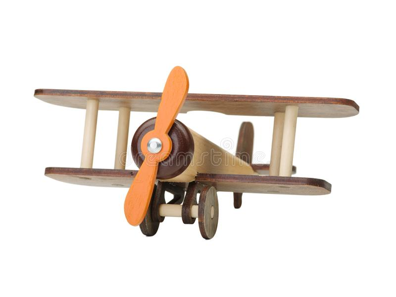 Avion en bois de jouet d'isolement sur le blanc Jouet en bois du ` s d'enfants écologie photos libres de droits