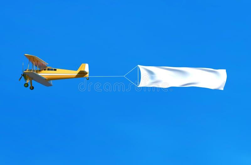 Avion et bannière de vol sur le ciel bleu illustration 3D illustration de vecteur