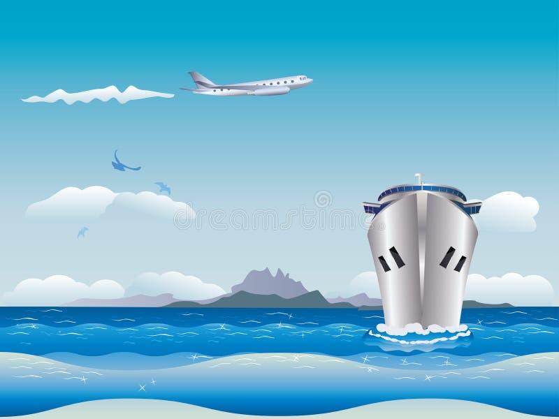 Avion et bateau illustration de vecteur