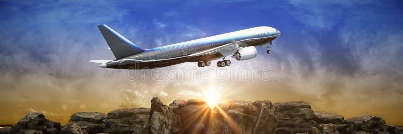 Avion et ciel 3d illustration de vecteur
