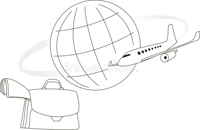 Avion et globe illustration stock