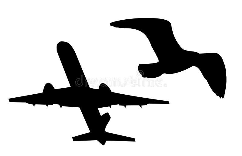 Avion et oiseau illustration de vecteur