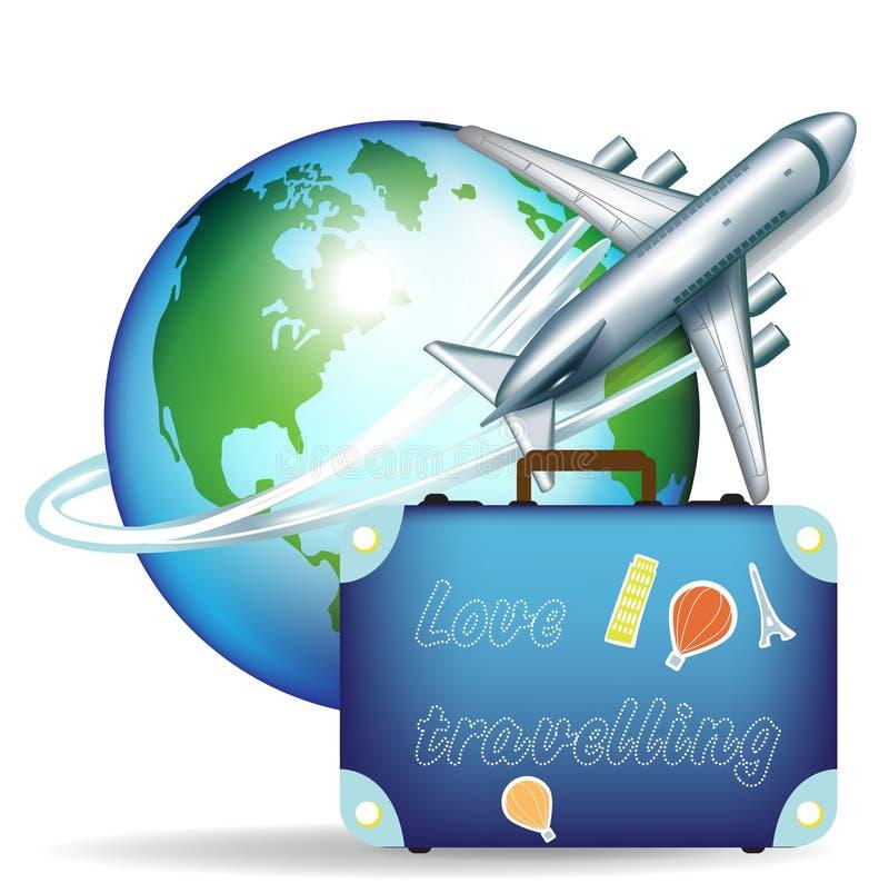 Avion et valise de course illustration de vecteur