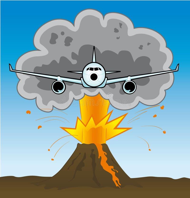 Avion et volcan illustration stock