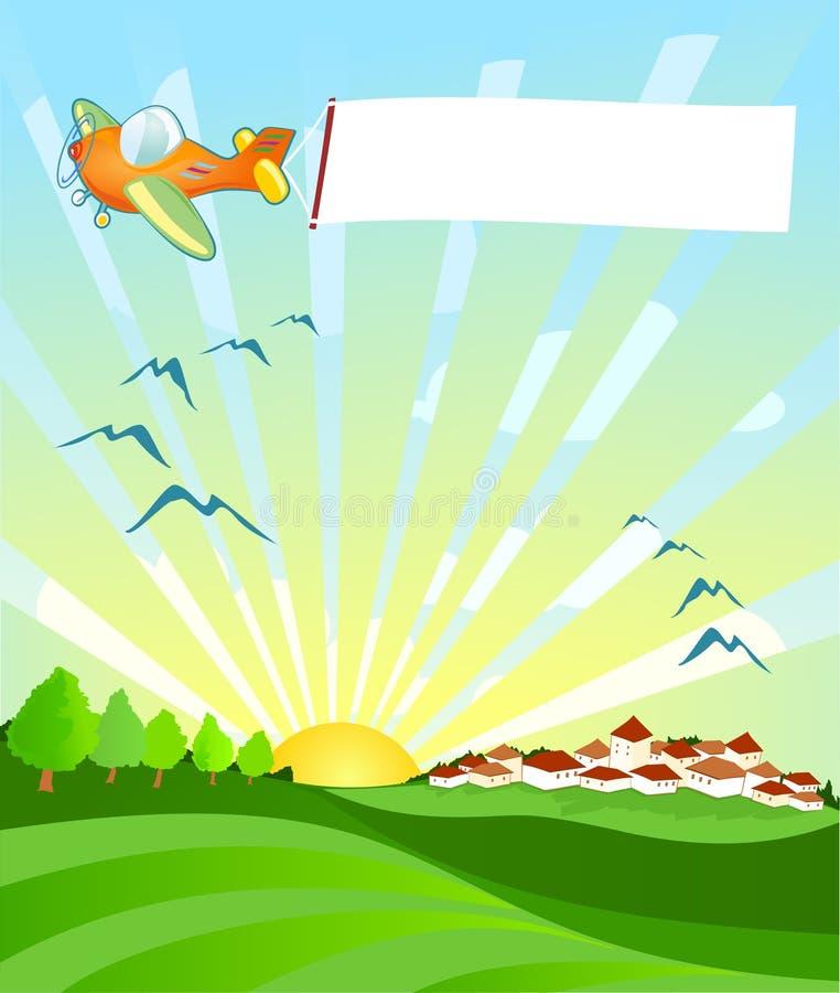 Avion frottant un drapeau illustration de vecteur