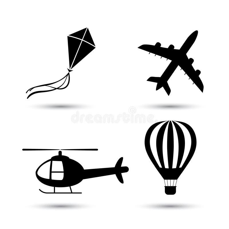 Avion, hélicoptère, ballon à air et vecteur de cerf-volant illustration stock