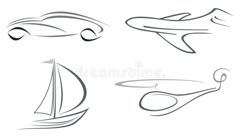 Avion, hélicoptère, véhicule et yacht illustration de vecteur