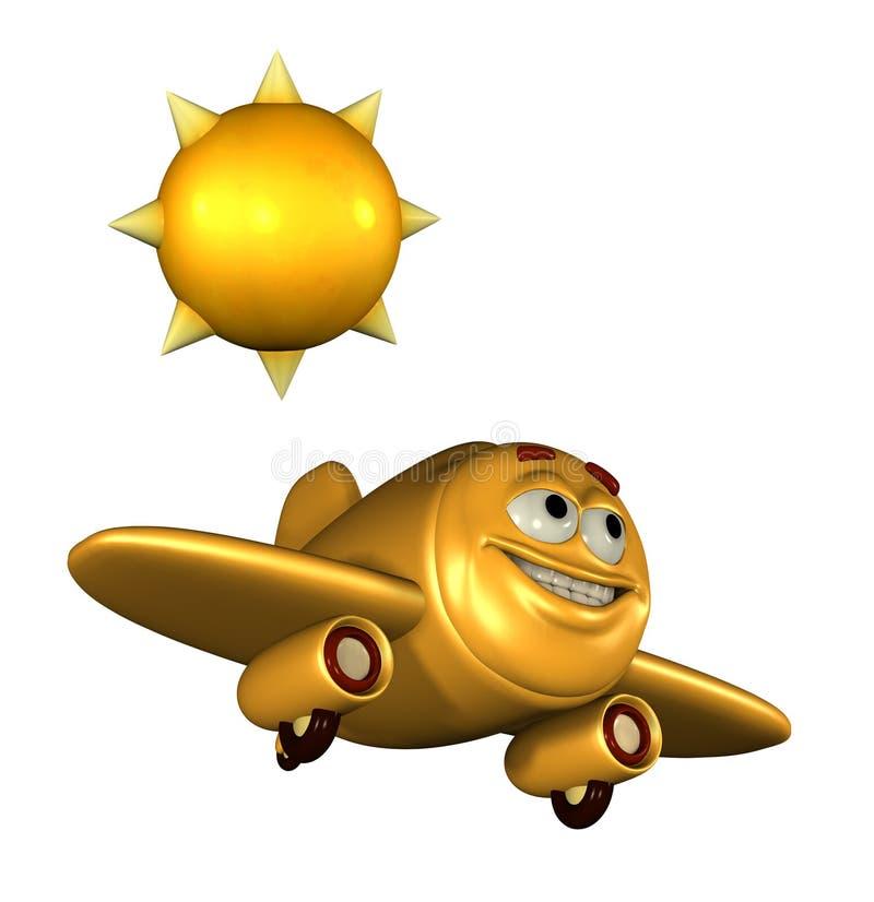 Avion heureux d'émoticône illustration de vecteur