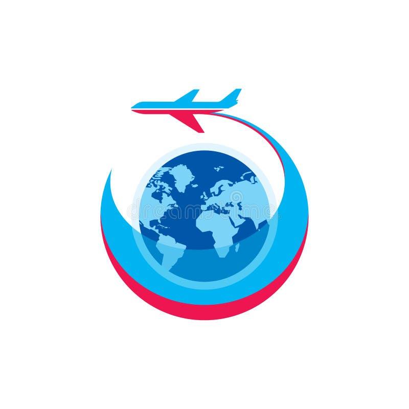 Avion - illustration de concept de calibre de logo de vecteur Les avions silhouettent, globe et rayures Signe créatif pour le tra illustration libre de droits