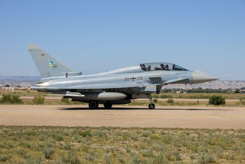 Avion militaire allemand d'avion de chasse d'Eurofighter Typhoon images libres de droits