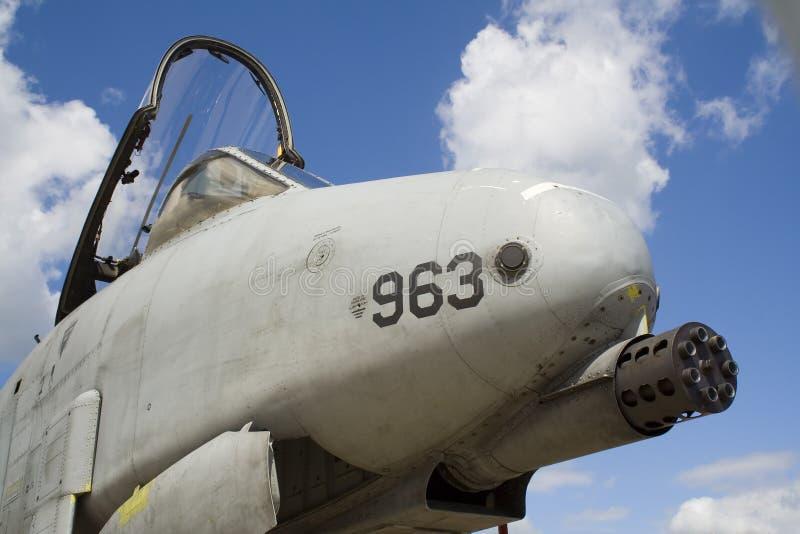 Avion militaire avec le canon massif photographie stock libre de droits