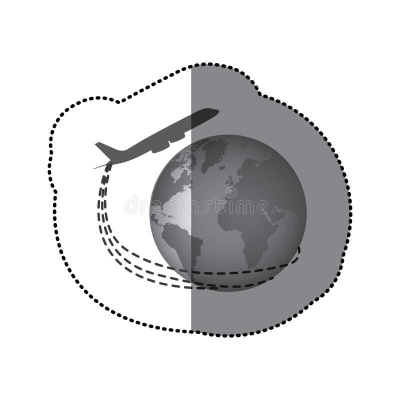 Download Avion Monochrome D'autocollant Autour De Monde De La Terre Illustration Stock - Illustration du conception, planète: 87703804