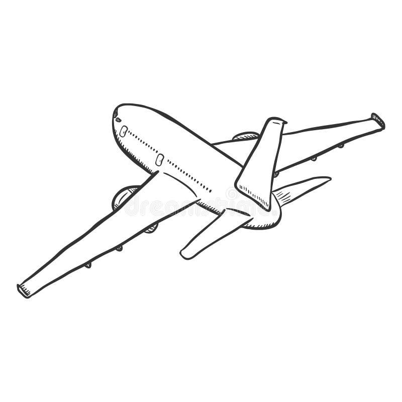 Avion noir simple de croquis de vecteur illustration stock