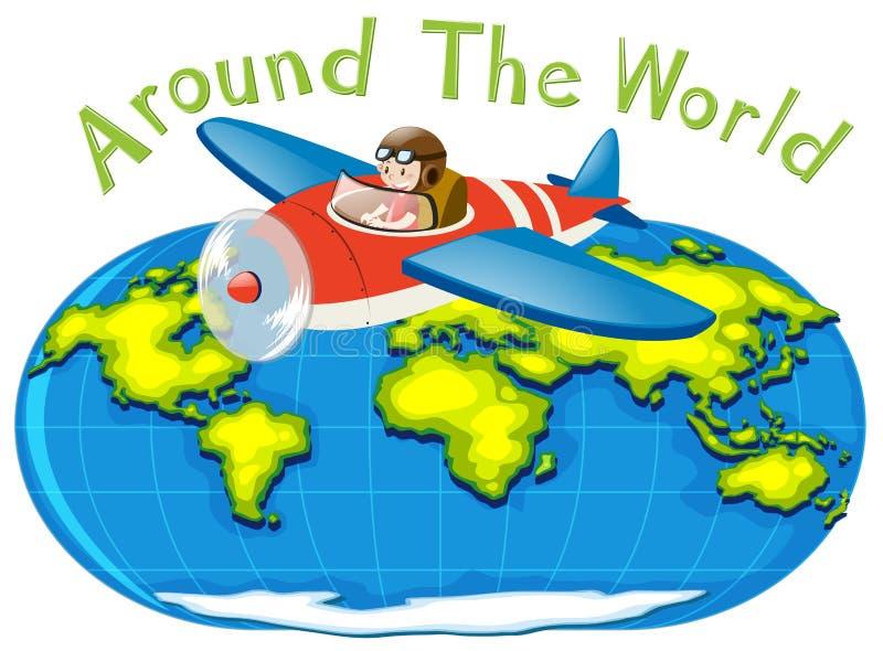 Avion pilote de vol autour du monde illustration de vecteur
