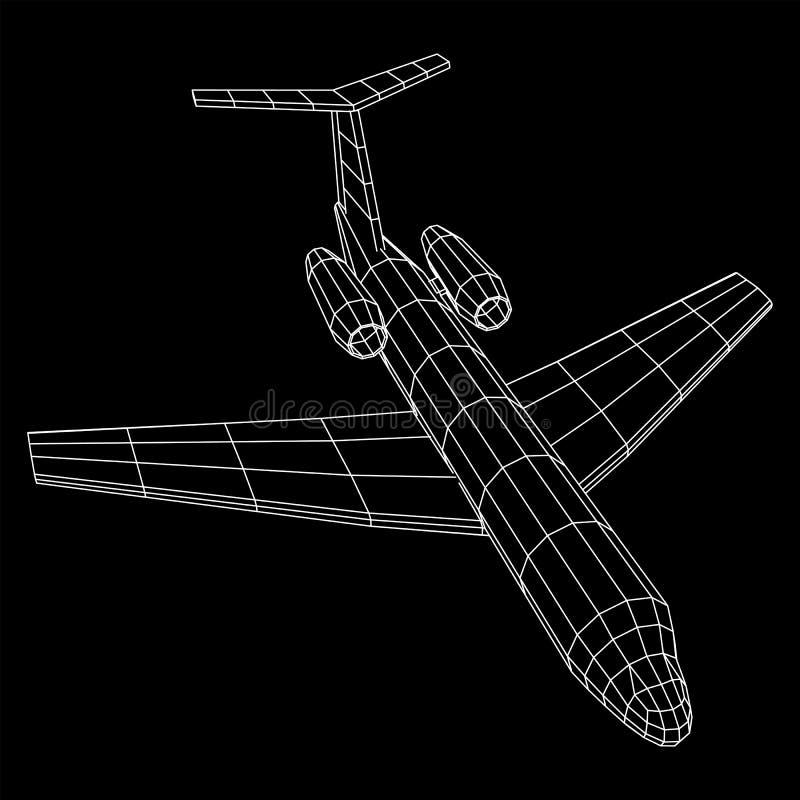 Avion polygonal privé de wireframe de Jet Plane Abstract illustration libre de droits