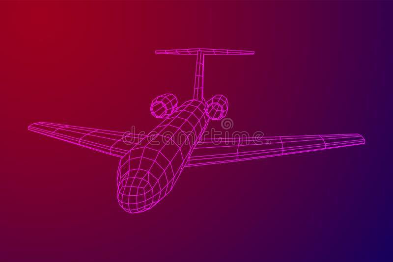 Avion polygonal privé de wireframe de Jet Plane Abstract illustration de vecteur