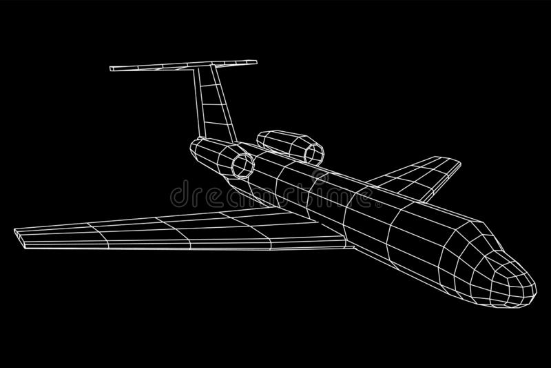 Avion polygonal privé de wireframe de Jet Plane Abstract illustration stock