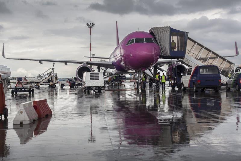 Avion pourpre photo libre de droits