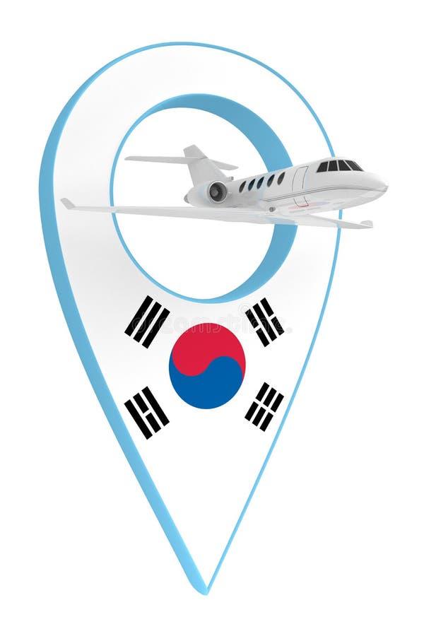 Avion privé avec Corée du Sud drapeau de navigation de goupille illustration stock