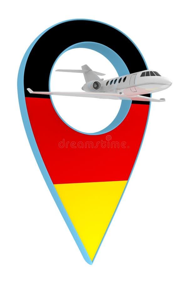 Avion privé avec le drapeau Allemagne de navigation de goupille illustration de vecteur
