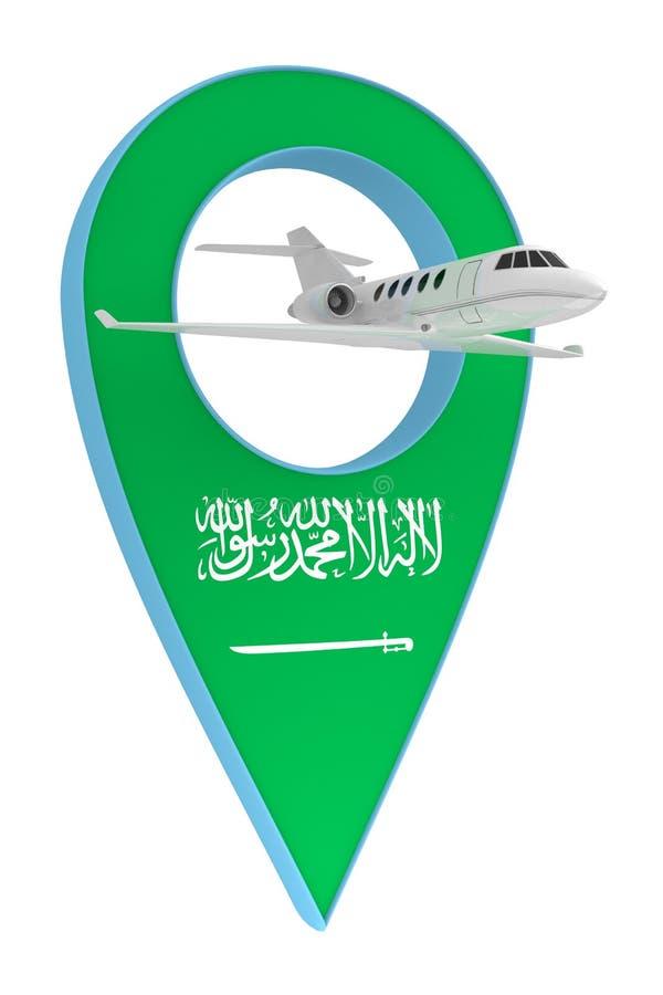 Avion privé avec le drapeau Arabie Saoudite de navigation de goupille illustration stock
