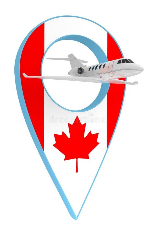 Avion privé avec le drapeau Canada de navigation de goupille illustration libre de droits