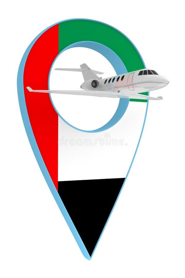 Avion privé avec le drapeau EAU de navigation de goupille illustration libre de droits