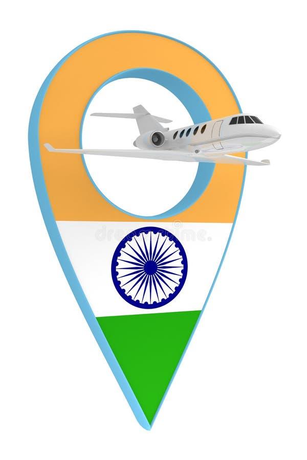 Avion privé avec le drapeau Inde de navigation de goupille illustration stock