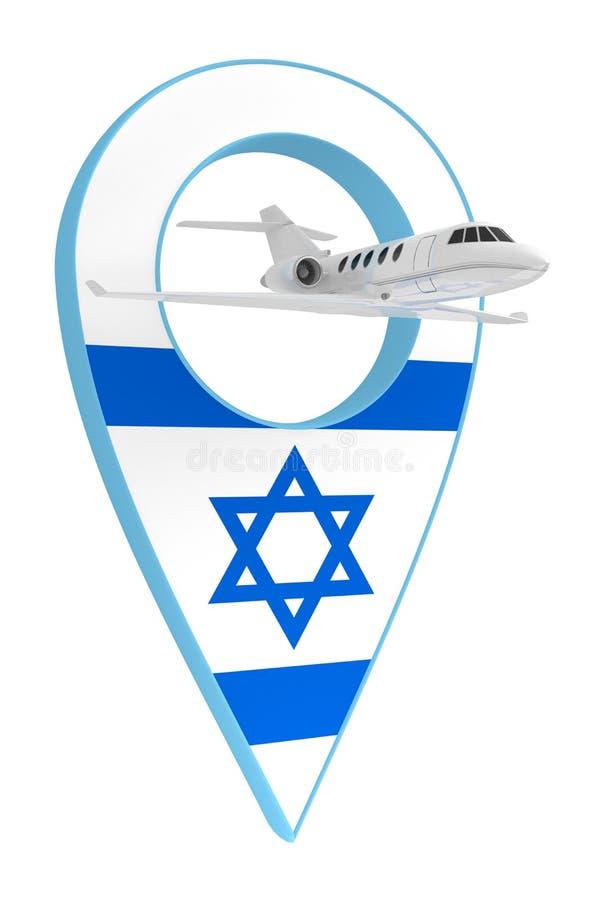 Avion privé avec le drapeau Israël de navigation de goupille illustration stock