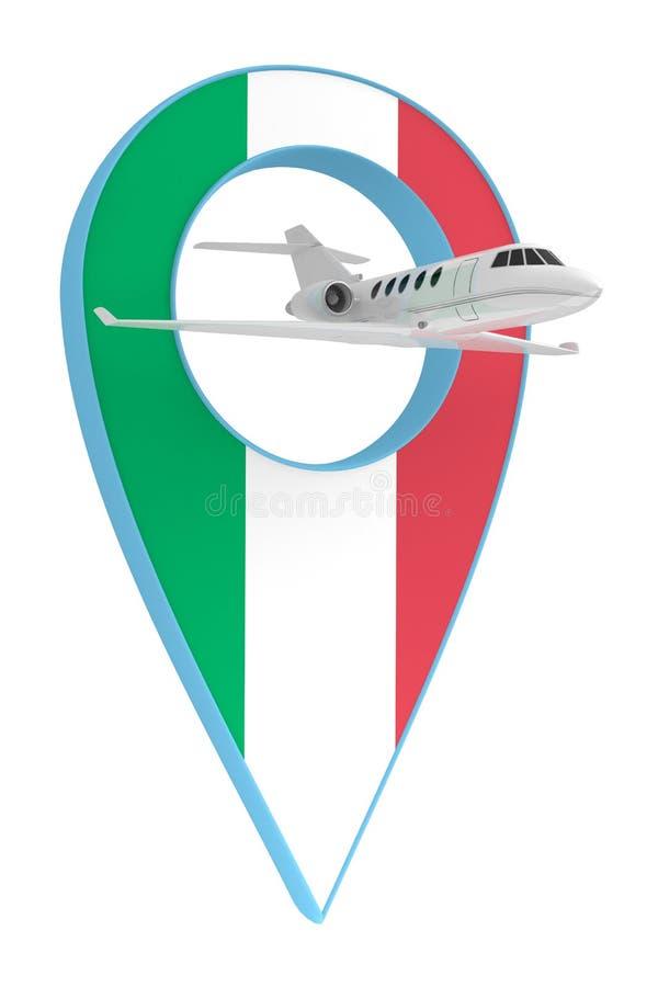 Avion privé avec le drapeau Italie de navigation de goupille illustration stock
