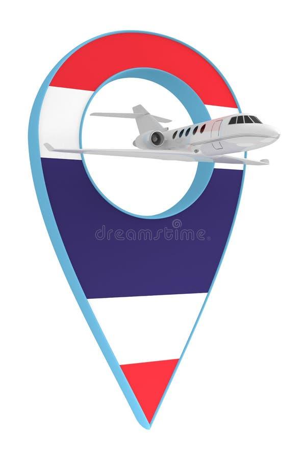 Avion privé avec le drapeau Thaïlande de navigation de goupille illustration libre de droits