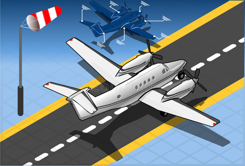 Avion privé blanc isométrique illustration stock