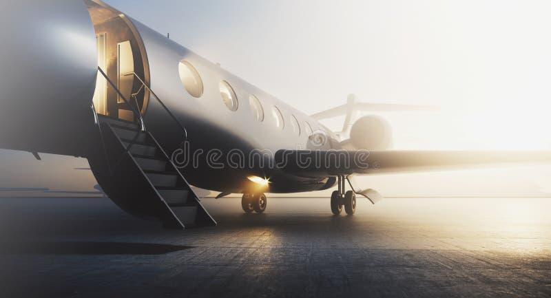 Avion privé d'affaires garé sur le terminal Concept de luxe de tourisme et de transport de voyage d'affaires closeup 3d illustration stock