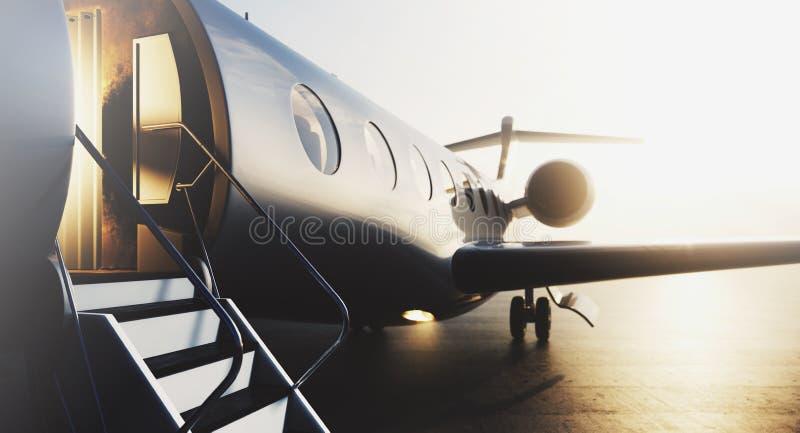 Avion privé d'affaires garé sur le terminal Concept de luxe de tourisme et de transport de voyage d'affaires closeup 3d illustration libre de droits