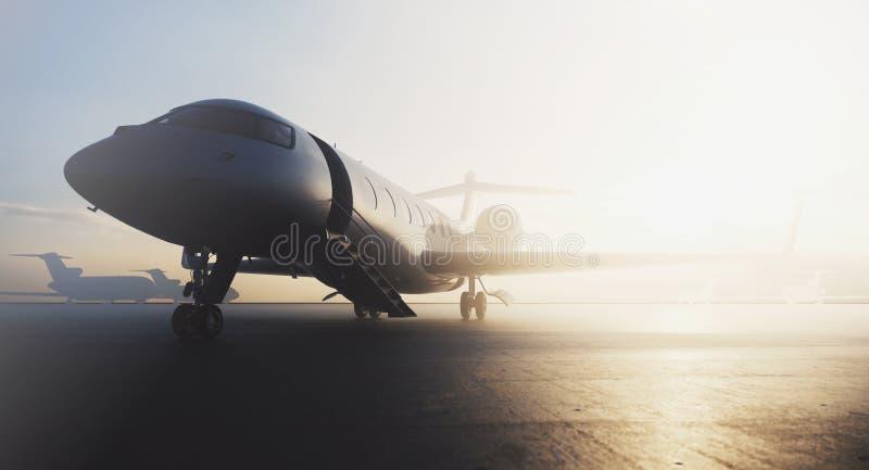 Avion privé d'affaires garé sur le terminal Concept de luxe de tourisme et de transport de voyage d'affaires 3d illustration libre de droits
