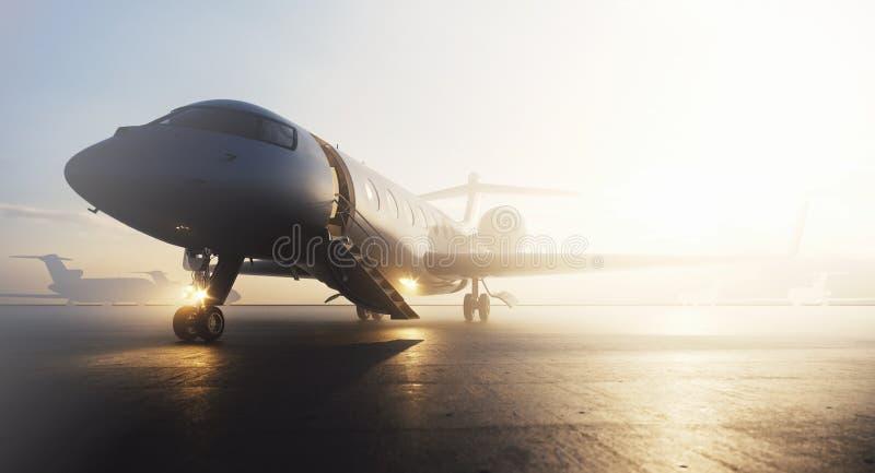 Avion privé d'affaires garé sur le terminal Concept de luxe de tourisme et de transport de voyage d'affaires 3d illustration stock