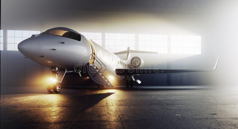 Avion privé d'affaires garé sur le terminal Concept de luxe de tourisme et de transport de voyage d'affaires 3d illustration de vecteur