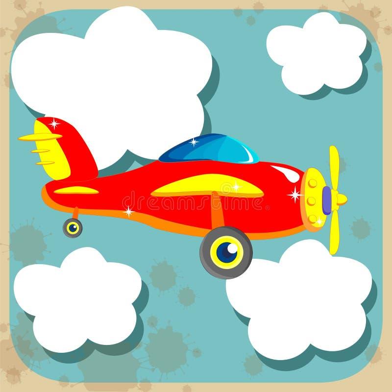 Avion rouge parmi les nuages illustration de vecteur