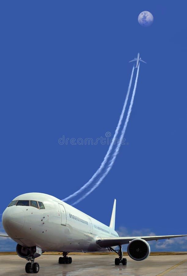 Avion stationné, prenant-hors fonction. Réussite. Concept. image stock
