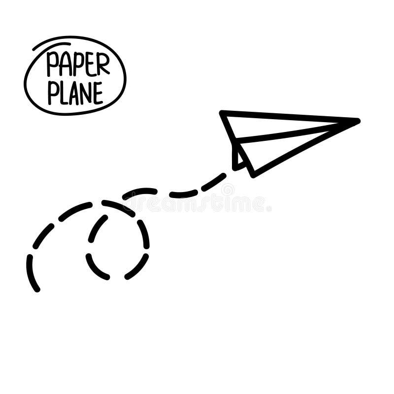 Avion tiré par la main de griffonnage Icône plate de papier linéaire noire illustration libre de droits