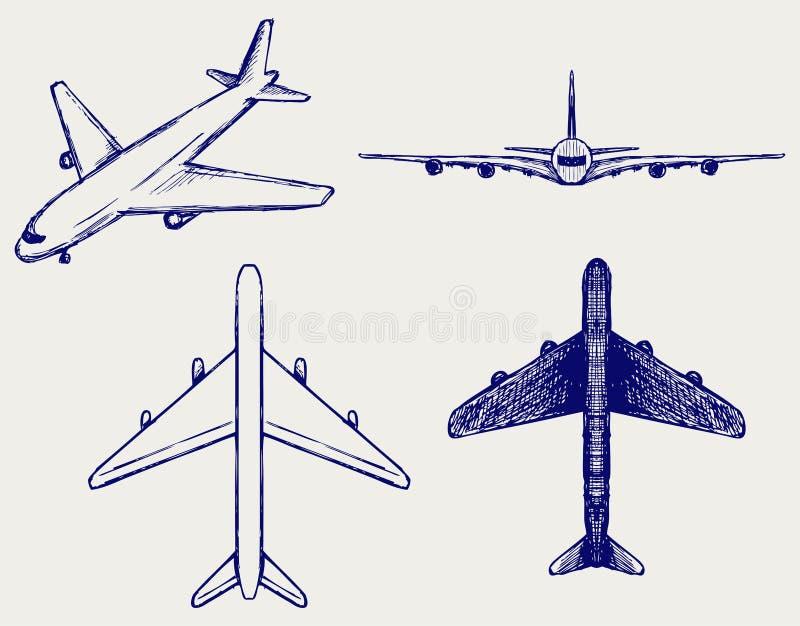 Avion. Type de griffonnage illustration libre de droits